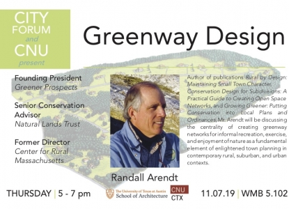 Poster of Randall Arendt describing his upcoming talk on Greenway Design