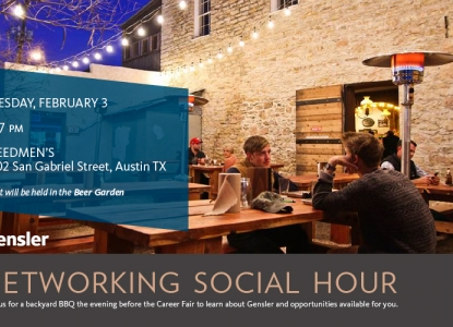 Gensler Networking Social Hour on Tuesday, February 3 from 5-7pm at Freedmen's