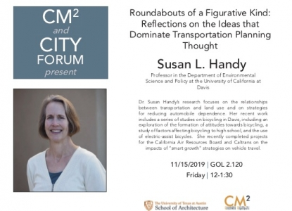 """Poster of Dr. Susan Handy and her upcoming talk, """"Roundabouts of a figurative kind"""""""