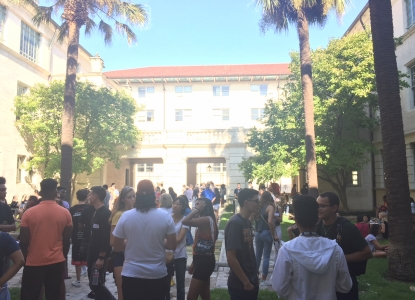 Gone to Architecture - students gather in Goldsmith Courtyard