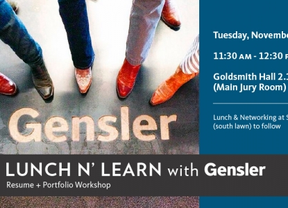 Gensler Portfolio/Resume Workshop & Reception - Tuesday, November 3 - Main Jury Room