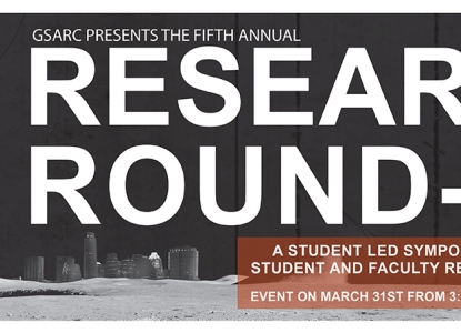 The 5th Annual Research Roundup is Thursday, March 31 from 3:00-6:00 p.m.