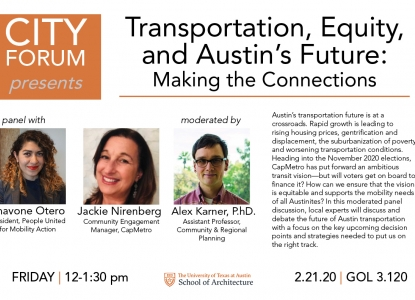 Poster for Transportation Equity Event at City Forum