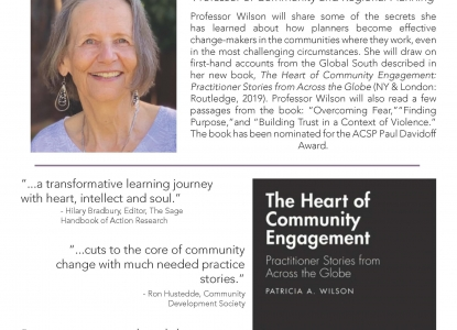 Image of City Forum poster featuring Dr. Patricia Wilson and the cover of her book, The Heart of Community Engagement: Practitioner Stories from Across the Globe