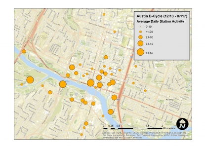 Map of Average Daily Bikeshare Activity by Station (Austin, TX)