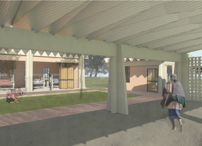 Artisan Center Courtyard perspective rendering