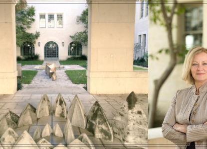 Dean Addington headshot and Goldsmith Hall Courtyard