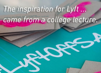 """""""The inspiration for Lyft...came from a college lecture.""""  Image of fuzzy moustaches at a Lyft party; modified Creative Commons image from Garrett Heath"""