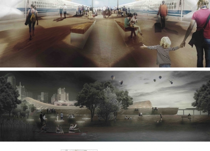 Interior rendering of platform, exterior rendering from across river, site analysis diagrams.