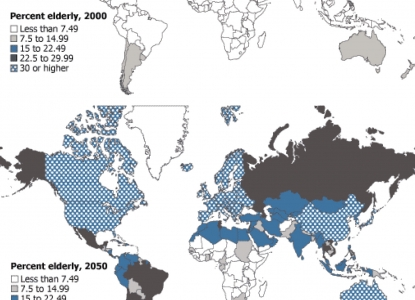 world maps comparing elderly populations in 2000 and projected in 2050