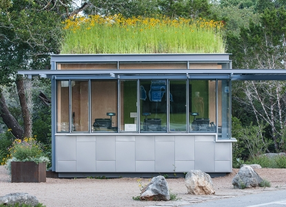 Photo of the welcome kiosk green roof at the Lady Bird Johnson Wildflower Center.