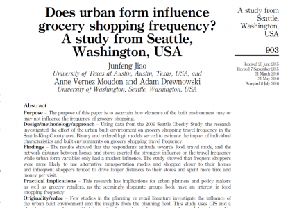 Does urban form influence grocery shopping frequency?