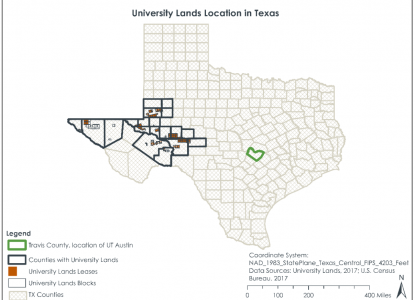 University Lands Location in Texas