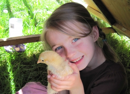 Student and chicken