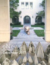 eNews December 2017 cover depicting Goldsmith Hall courtyard.