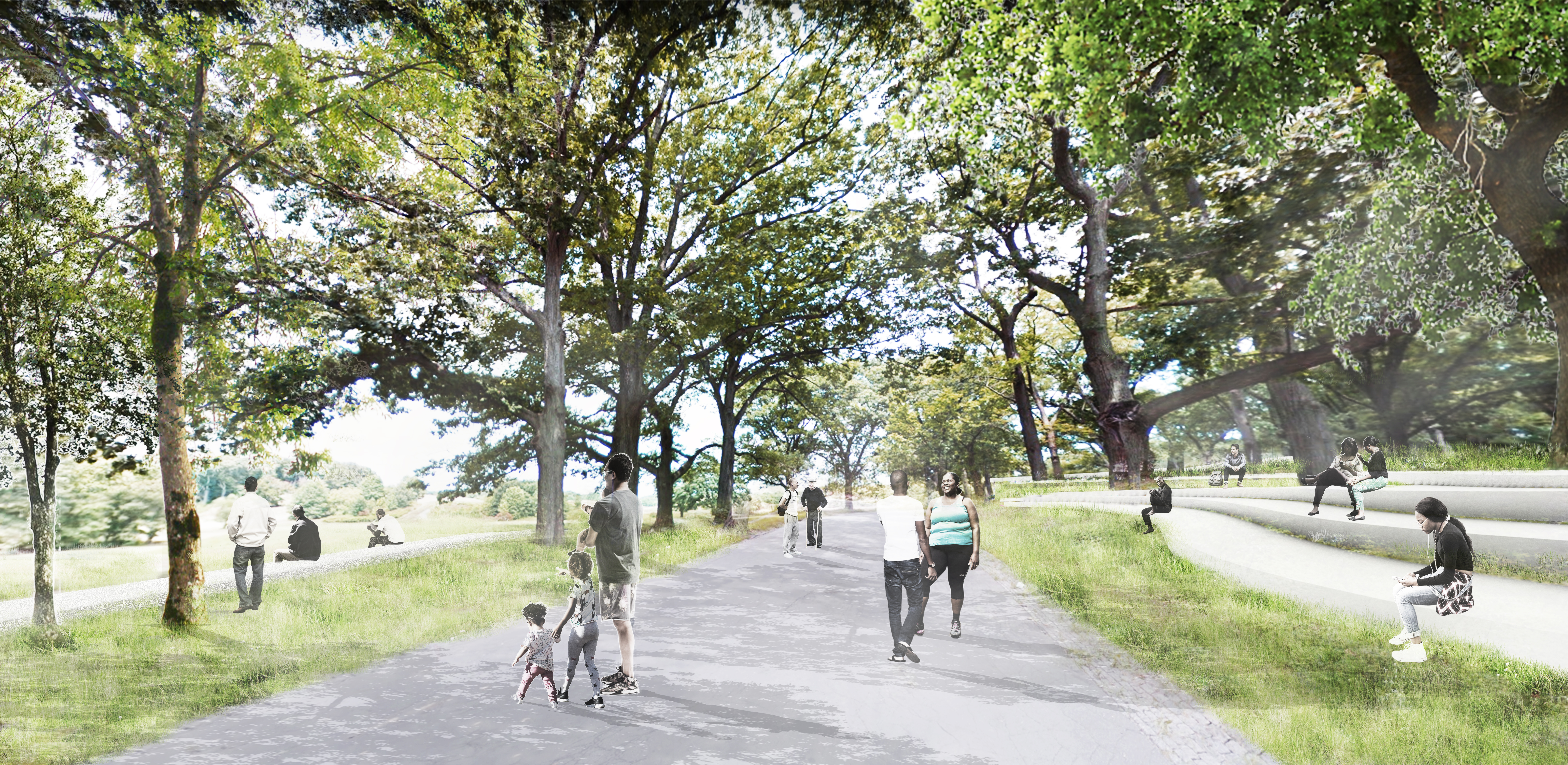 """Perspective view examining the park edge experience facing inwards and looking into the """"rolling hills of the county park"""""""