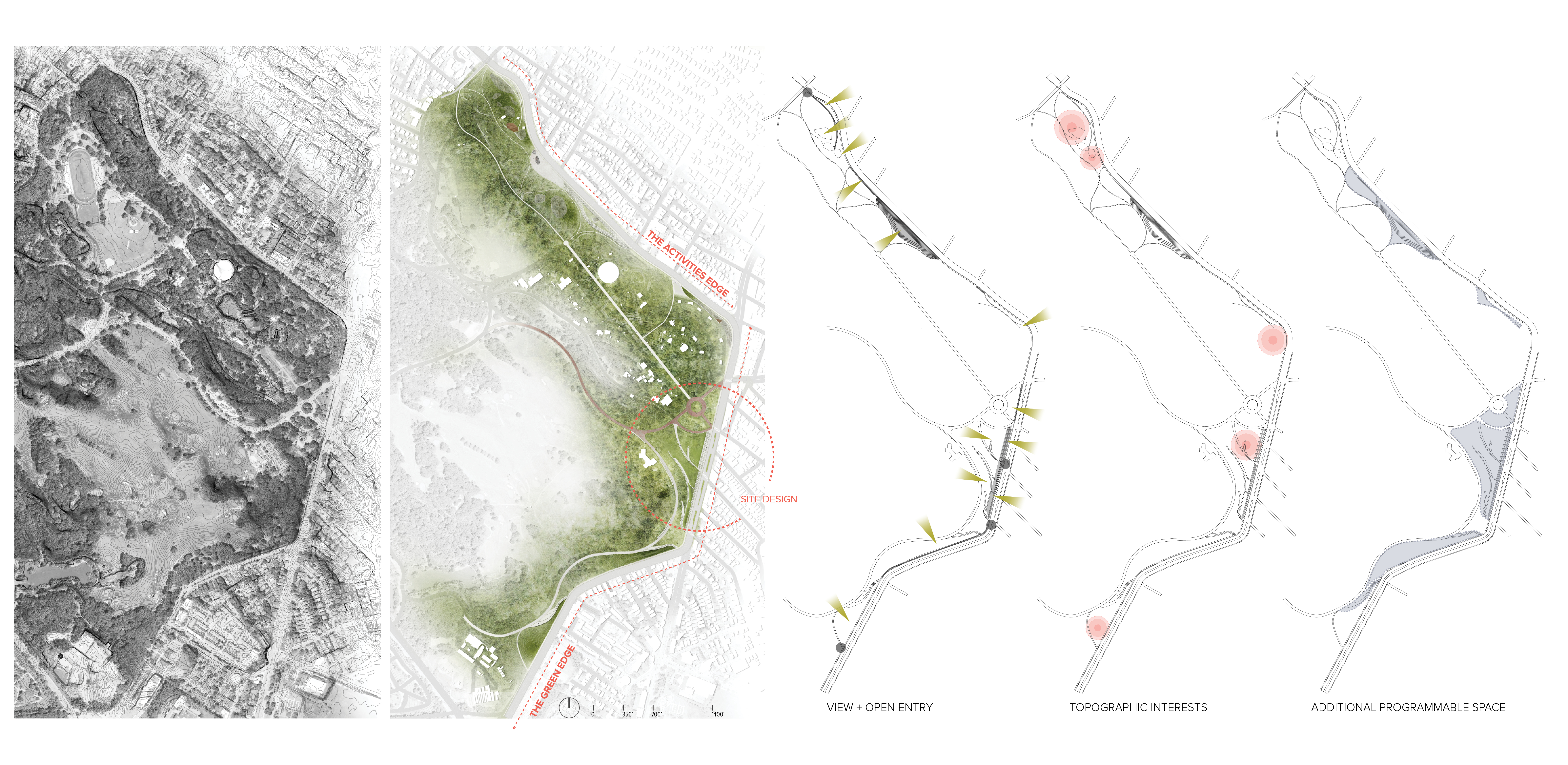 Focusing on the eastern edges, broad design interventions widen and enrich the entry experience to enhance connectivity