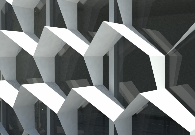 Close up rendering of honeycomb pattern overhangscovering glass