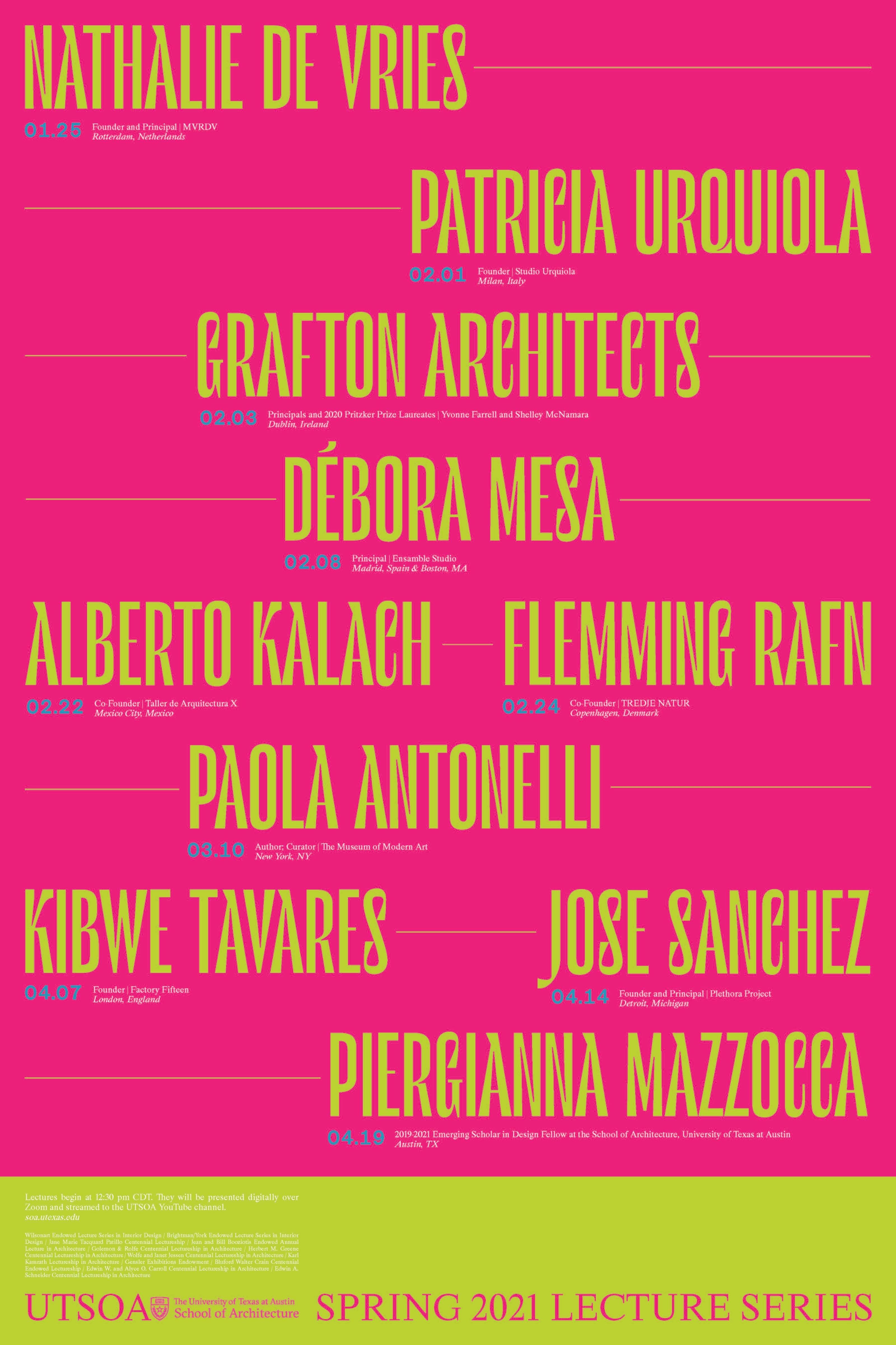 Pink and green poster announcing the Spring 2021 Lecture Series at The University of Texas at Austin School of Architecture