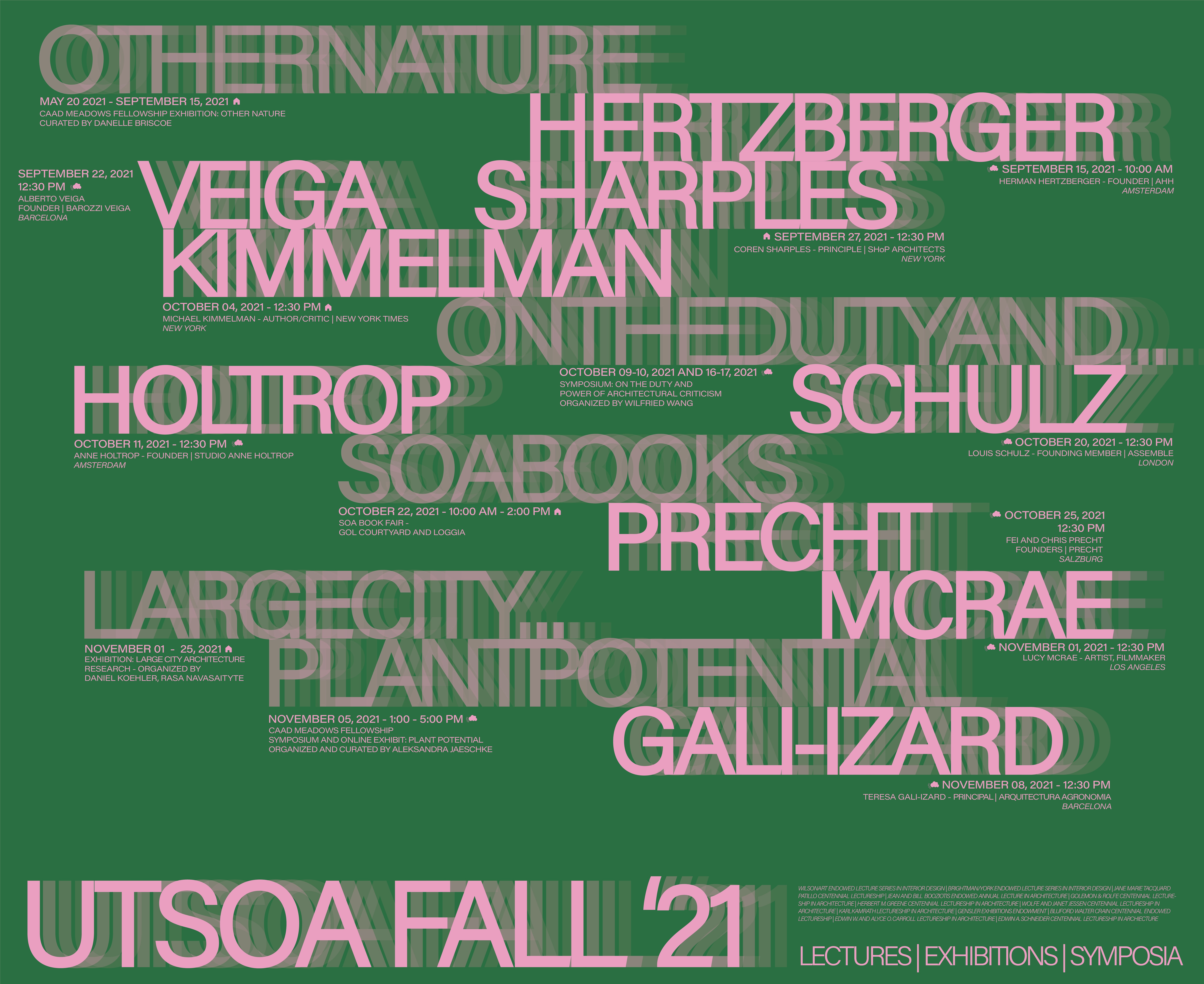 Fall 2021 lecture series poster. Features pink text on a green background.