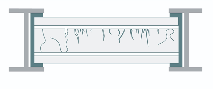 Section diagram of plated, fire-damaged glass. The plated glass should be thinner than the original. The edge sealant (shown in teal) should fully encompass the sides of the glass to prevent access to the interspaces without protruding past the lead leaf.