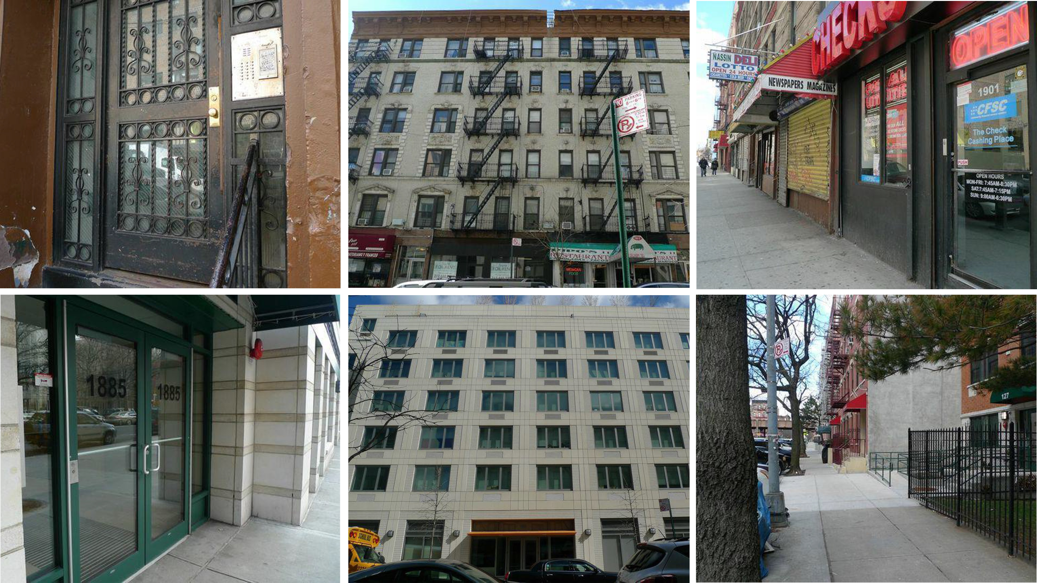 A grid of six different architectural facades in Central Harlem in various states