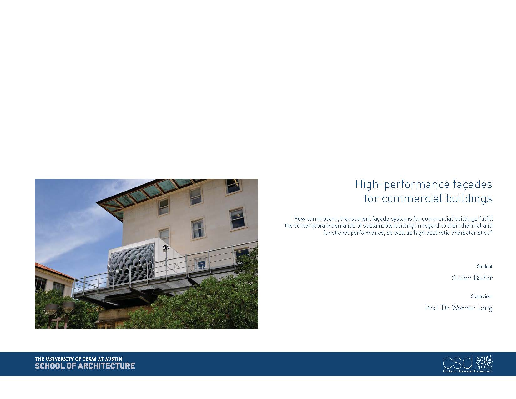 High-performance façades for commercial buildings cover