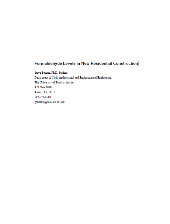 Formaldehyde Levels in New Residential Construction cover