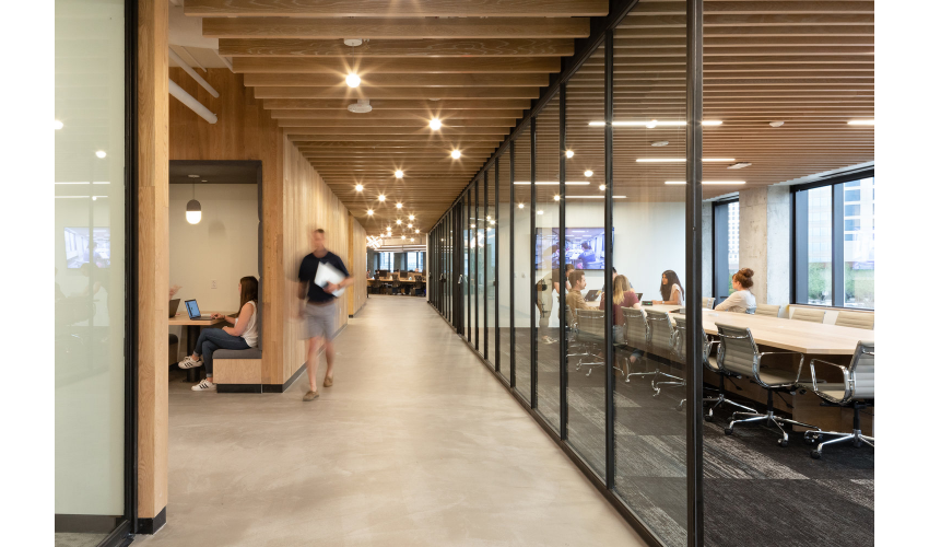 RigUp Office by Matt Fajkus Architecture Walkway and Conference Room