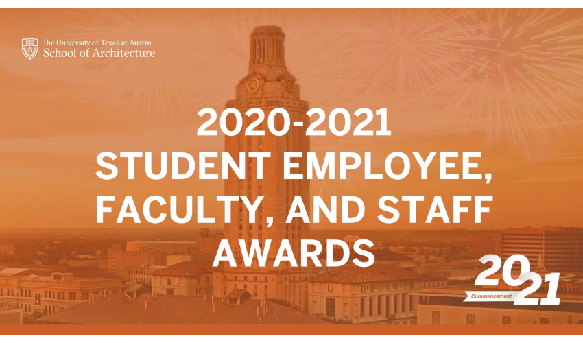 Orange background with the UT Tower with white text overlaid