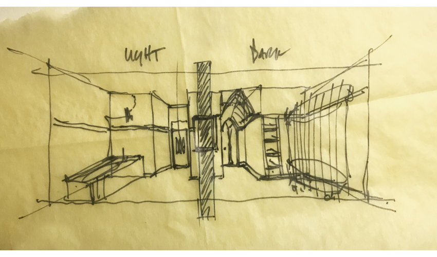 Bricker's sketch of Nadia and Alan's bathrooms back to back