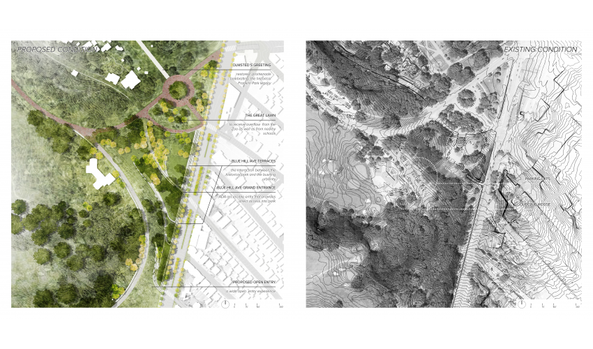 The focus area site plan aims to honor Olmsted's original plan geometry, while adapting to the contemporary urban setting