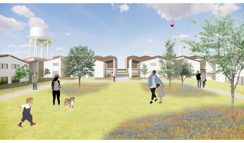 Rendering of people gathered in a grassy quad with small trees and wildflowers surrounded on three sides by white homes. Big fluffy clouds seen in the sky and a water tower is in the background