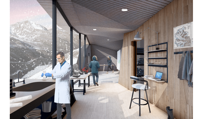 Interior rendering of a research center in the Alps. A man in a white lab coat seen in the foreground working, with two other people in coats walking around in the background, with a view of snowy mountains out the window.