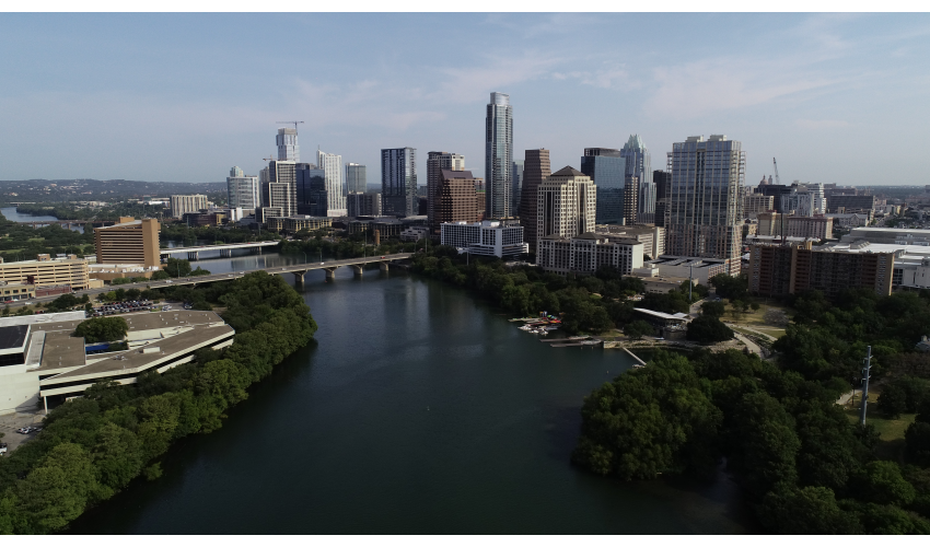 Aerial shot of downtown Austin and Lady Bird Lake