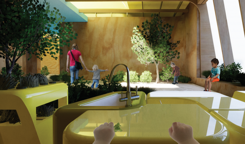 Rendering of a classroom. From a child's perspective, hands in the forefront, looking out over a table at the room. Green tree in the left corner, children playing in the background