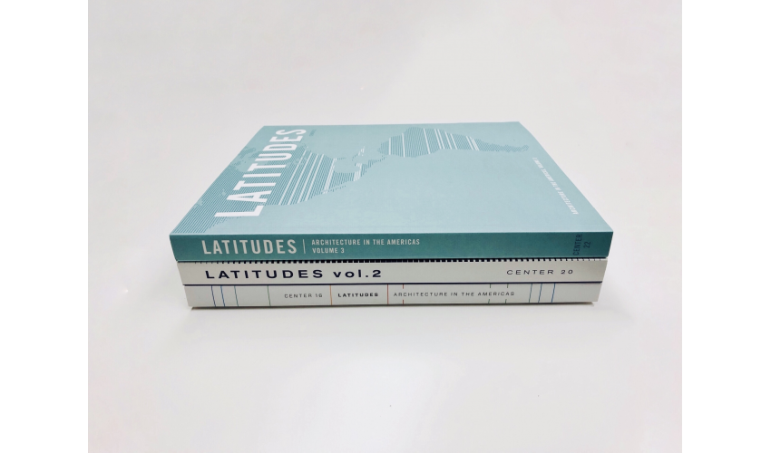 The spines of all three Latitudes CENTER volumes stacked on top of one another against a white backdrop
