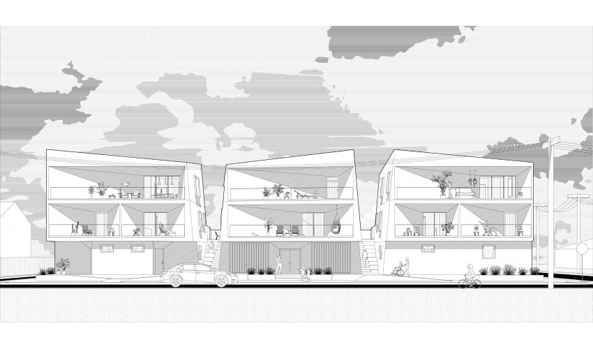 Black and white exterior drawing of a high-density, low-rise interpretation of the row house typology, meant to privilege the elderly and the disabled while fostering new kinds of kinship and alternative familial units in east Austin