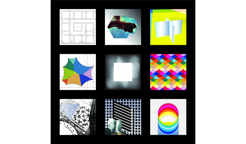Three-by-three grid of colorful square graphics and textures against a black background