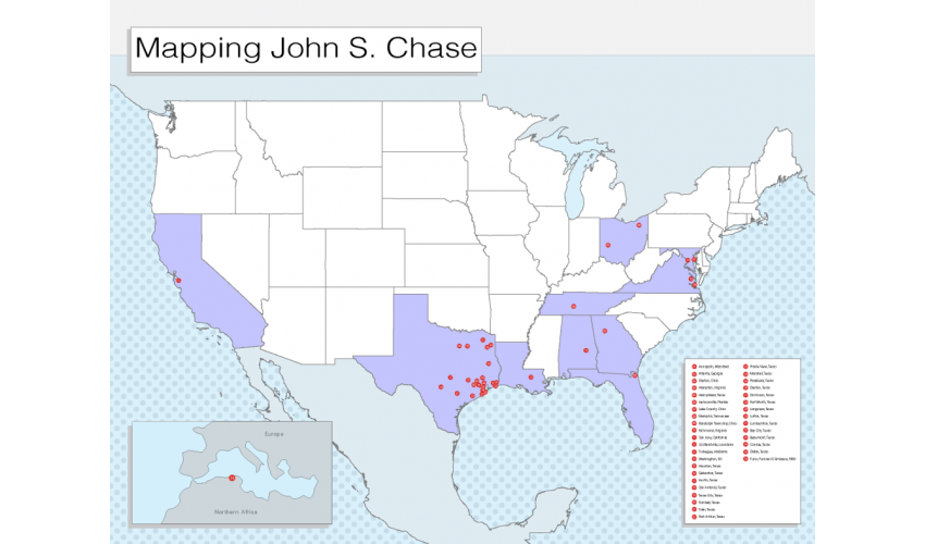 Map of the United States highlighting states and cities where John S. Chase built works.