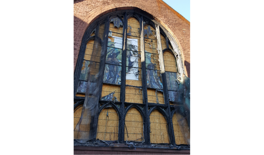 """""""Ascension Window"""", ca. 1912, Frederick Lamb, Brooklyn, NY. Photo of exterior after the fire. Image courtesy of Bovard Studio, Inc."""