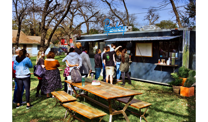 People in line at a food truck