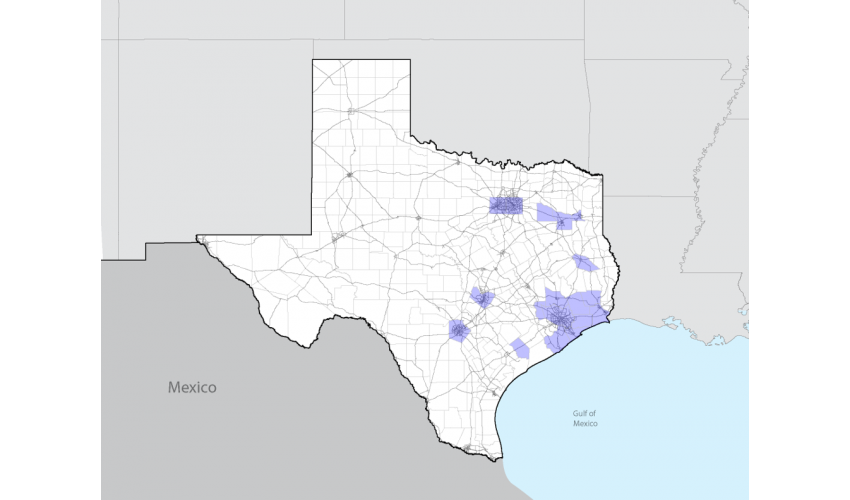 Map of Texas with sections highlighted in purple where John S. Chase completed projects