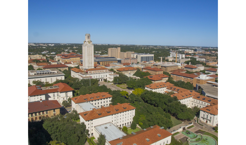 Aerial shot of UT Austin's campus and tower