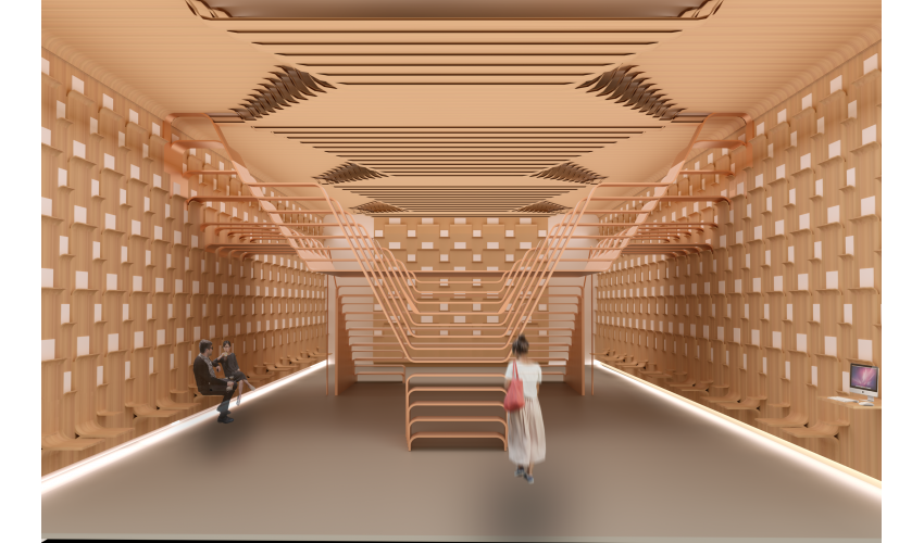 Rendering of the interior space of a bookstore with walls and stairs made of wood.