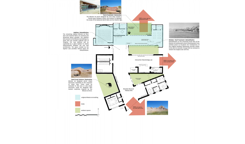 visitor center proposed floor plan and treatment
