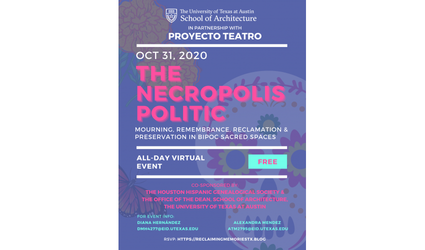 The Necropolis Politic flyer with text overlaid a purple background with sugar skulls