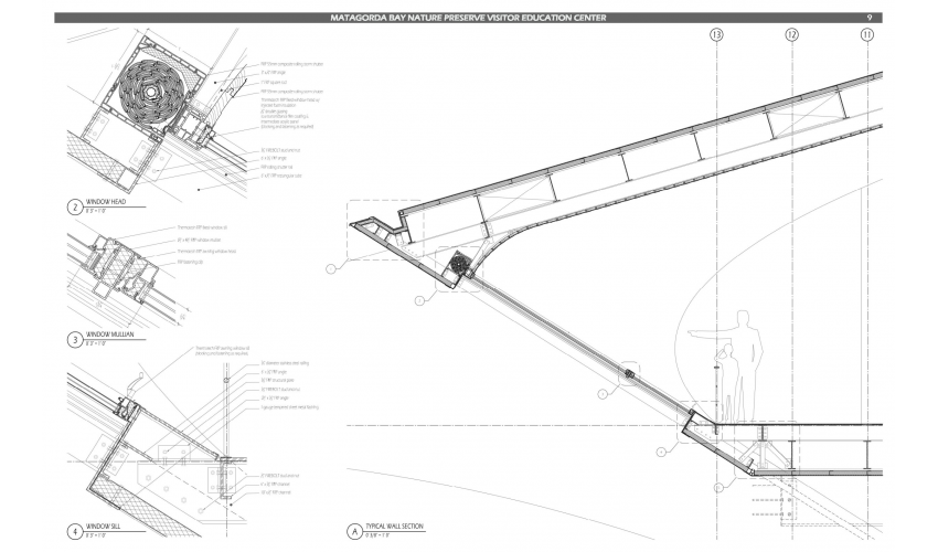 Detailed construction drawings for the Matagorda Bay Nature Preserve Visitor Education Center