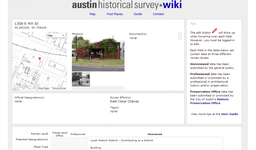 Each record of a place contains an address, photos, documents and numerous other fields