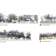 Four distinct edge impressions reflect thickened experiences traversing between the park and the urban